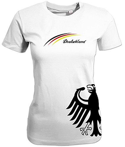 Jayess WM 2018 - Deutschland Adler Seite - Damen T-Shirt Weiss Gr. XXXL