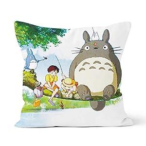 Funda de almohada de Totoro, cómoda y delicada con la piel, diseño de anime japonés, ideal para la funda de almohada del coche del dormitorio de la casa, tamaño 40 x 40 cm