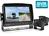Fookoo Ⅱ HD 1080P Backup Camera System Kit,7'' DVR Dual Split Screen Monitor, IP69 Waterproof Rear View Camera for Truck/Semi-Trailer/Box Truck/RV, Sharp CCD Chip,100% Not Wash Up (FHD2-Wired)