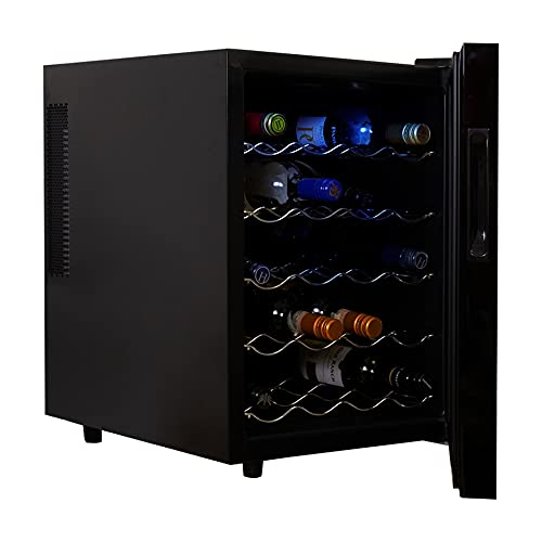 Koolatron WC20 Thermoelectric Wine Cooler 20 Bottle Capacity with Digital Temperature Controls-Vibration-free and Quiet Cooling Power, 5 Removable Shelves, Black