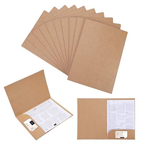 Lote de 10 carpetas A4 de papel kraft con solapa para llevar documentos, presentaciones, contratos o informes, color marrón taille
