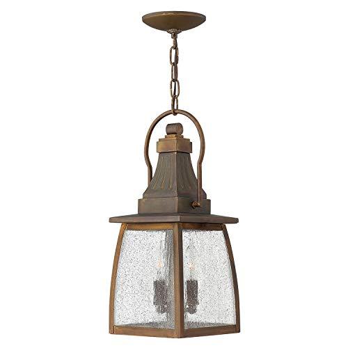 Echte Messing Pendelleuchte MAINE Regenglas Handarbeit IP23 Lampe Draußen Garten Terrasse Haustür