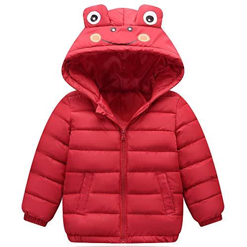 ZHOUZJ Abrigo de Plumas Niñas Niños Invierno Chaqueta Caliente Otoño Invierno Cortaviento con Capucha Unisex,Rojo,130cm