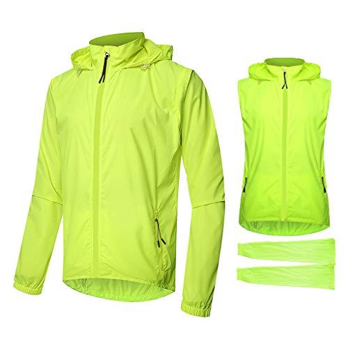 Beylore Fahrradjacke Herren Wasserdicht Atmungsaktiv 2 in 1 Fahrradweste mit Abnehmbaren Ärmeln UV-Schutz Fahrrad Regenjacke Damen Reflektierend Fahrrad Jacke Fahrradjacken Windjacke,Grün,4XL