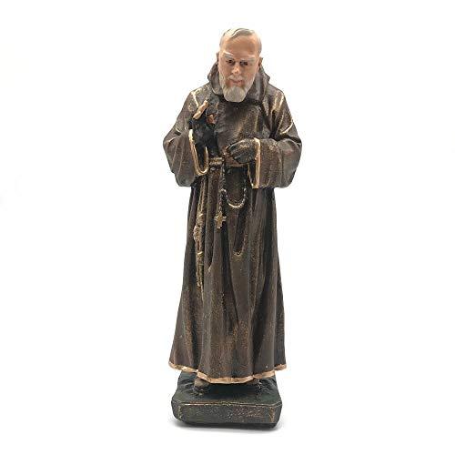 Imagem São Padre Pio Envelhecido Com Luvas Resina 30 cm