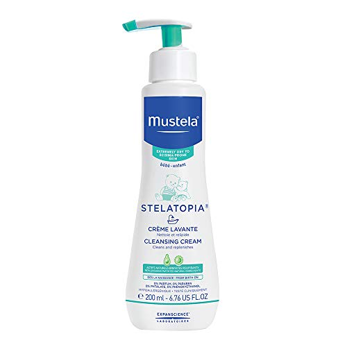 Mustela Stelatopia Cleansing Cream, Baby Wash, for Eczema-Prone Skin, with Natural Avocado Perseose, Fragrance-Free, 6.7 Ounce