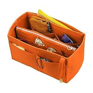 [Passt Birkin 35, Orange] Felt Organizer (mit abnehmbaren mittleren Zipper Bag), Tasche in Tasche, Wolle Geldbörse…