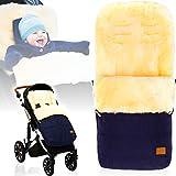 Winterfußsack/Fußsack (100% ECHTES LAMMFELL) für Kinderwagen/Buggy/Jogger Kinderwagenfußsack (MARINE MELANGE)