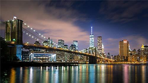OKOUNOKO 1000 Piezas Puzzles 3D, Puente De Brooklyn, De Madera Montaje Personalizado Rompecabezas Divertido, 75X50Cm