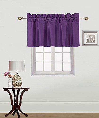 GorgeousHomeLinen (RS9) 1 Small Short Decorative Rod Pocket Foam Lined Blackout Swag Window Curtain Straight Valance for Kitchen, Living Room, Bedroom, Nursery, Basement & Bathroom (Purple Plum)