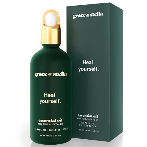 Grace & Stella 100% aceite puro de árbol de té para piel clara, vegano, combate el acné, reduce el enrojecimiento y uniformiza el tono de la piel
