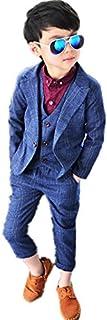 子供タキシード キッズ服 男の子ベビーブルースーツ衣装 ベスト、ズボン、コート  卒業式/入園式/発表会/七五三/ジャケット 90~140CM