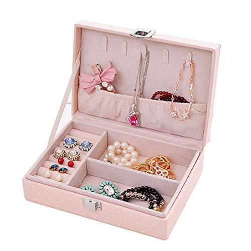 Lwieui Caja de Almacenamiento de la joyería Joyero para Mujer Pendiente Anillo de Almacenamiento Joyas de Viaje Baratija Caja de Almacenamiento Caja (Color : Pink, Size : Free Size)