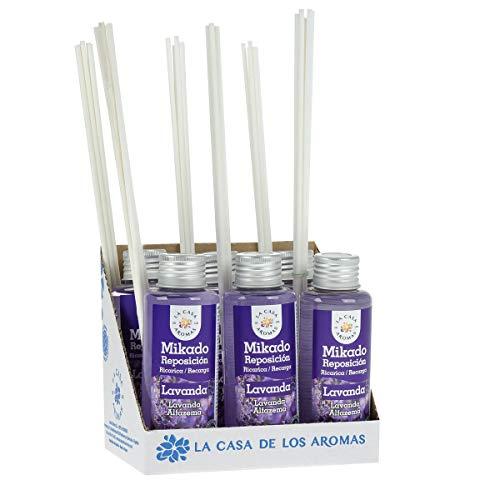 La Casa de los Aromas, Set de 6x100ml Ambientadores Mikado Lavanda para Reposición con Varillas, Difusor Líquido de Aroma Lavanda, Perfume Duradero para el Hogar, Baño, Casa