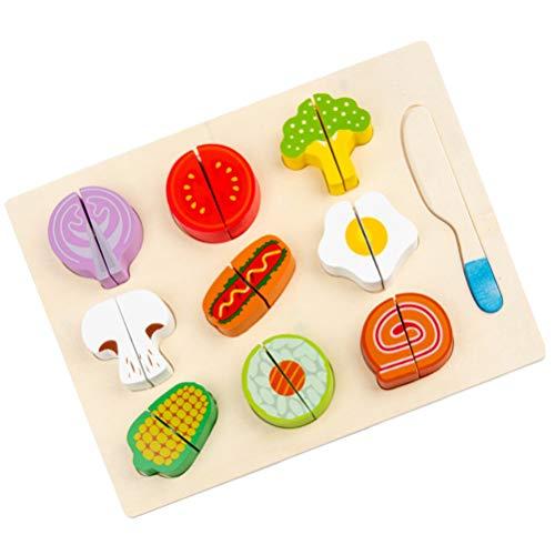 STOBOK 1 Juego de Corte de Madera Rompecabezas de Frutas Juego de Madera Accesorios de Cocina Juguetes de Comida de Madera para Niños Juguetes de Aprendizaje de Desarrollo Temprano