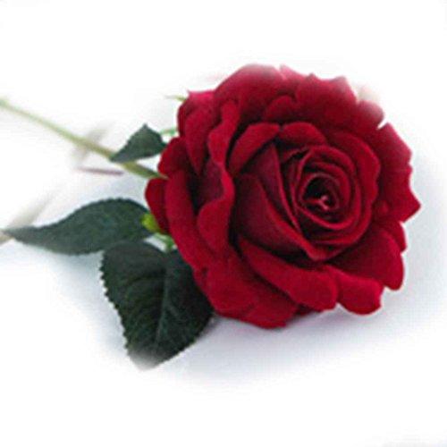 Gankmachine Arreglo Floral de la Rosa Artificial de Seda de la Tela plástica para la decoración casera de la Boda Rojo Oscuro