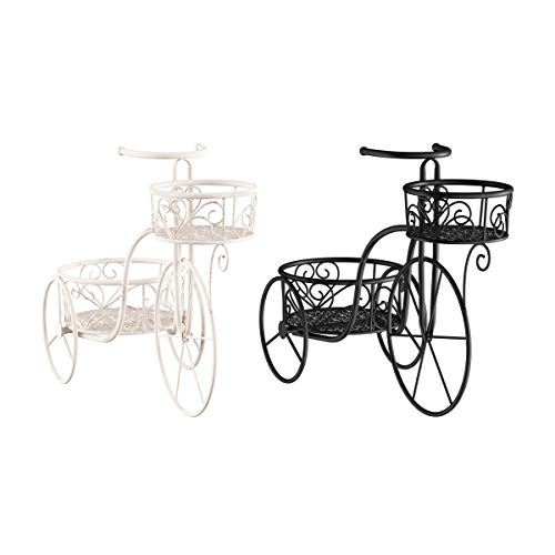 Pure Garden 50-LG1162 Tricycle Plant Stand – 2-Tiered Indoor or Outdoor Decorative Vintage Look Display for Patio, Deck, Home or Lawn (Antique White)