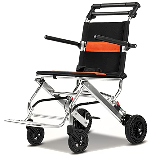 ZAQI Travel Wheelchairs for Adults Lightweight Foldable, Narrow Small Portable Rollator Walker with Footrest, Disabled Seniors, Non-Electric