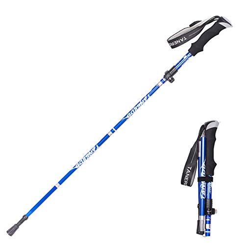 Bastone da trekking pieghevole, ultraleggero, ultra corto, telescopico, per escursionismo, arrampicata, bastone in lega di alluminio, Blu, 110-130CM