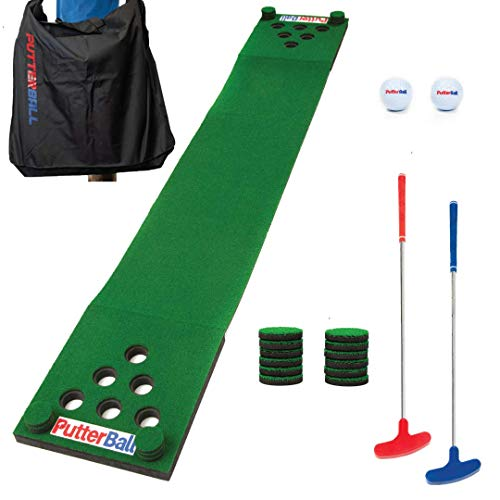 PutterBall Golf Pong Game Set The Original - Includes 2 Putters, 2 Golf Balls, Green Putting Pong Golf Mat, Hole Covers & Carrying Case- Best Backyard Party Golf Game Set