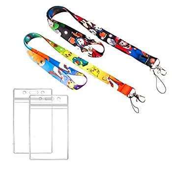 GTOTd Pokemon & Mario Lanyard with ID Badge Holder  2 Pack  Durable and Premium Quality Kid Lanyard with id Holder