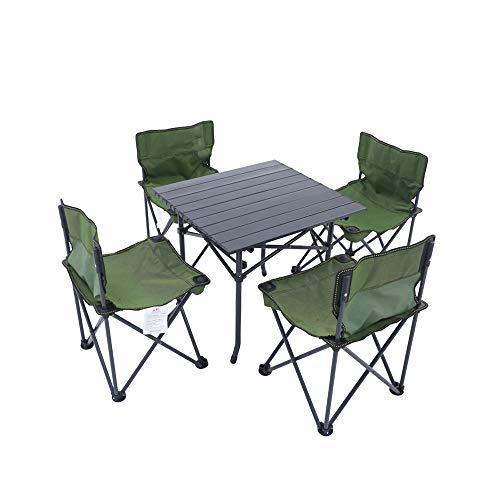 Mobili da campeggio set salotto alluminio tavolo pieghevole tavolo 4x Sedia Pieghevole Sedia da campeggio Stone