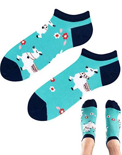 TODO Colours Motiv Sneaker-Socken ALPACA LAMA LOW Lustige Alpaka socken mehrfarbige, verrückte, bunte Knöchelsocken Damen Herren (Alpaca-Lama Low, 39-42)