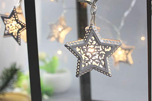Łańcuch świetlny zasilany bateryjnie, 11 stopy/3,3 m 20 ciepłych białych lampek dekoracyjnych LED, białe metalowe lampki choinkowe na ślub, urodziny, imprezę, Boże Narodzenie, dekoracja zimowa