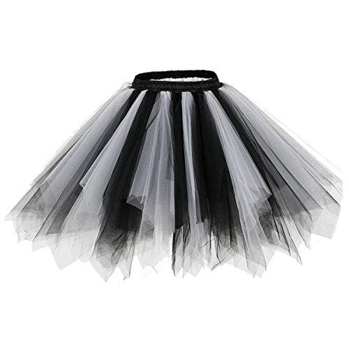 Bridesmay Mujeres Faldas Enaguas Cortas Tul Plisada Fiesta Tutu Ballet Black-White M