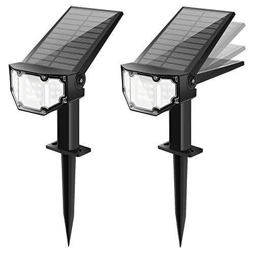 Solarstrahler für außen 19 LED Solar Gartenleuchte Solarleuchte LED Strahler für außen Wandleuchte 2 Helligkeiten IP67 Kaltweiß 2 Stück