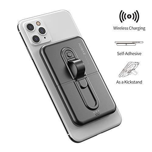 AIDEAZ Wireless Powerbank Klein 5000mAh Mini Externer Akku, Akkupack-Ladegerät mit Handy-Ständer, Kompatibel mit iPhone 8/8/Plus/X/Xs/Xs Max/XR/11 Pro, Kompatibel mit Samsung S9/S9+/S10/S10+ und mehr