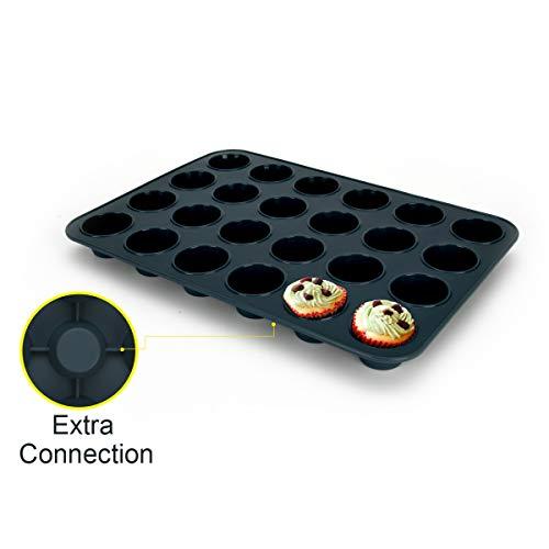 シリコン マフィン型 ケーキ型 プレートノンスティック 24個取り マフィンパン ベーキングカップ ケーキ モールド キッチン ツール 掃除が簡単 (グレー)