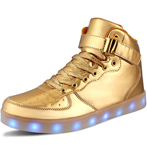WONZOM Scarpe luminose a LED Zapatillas de Deporte Intermitentes USB para Botas Toler/Kids-35(Gold)