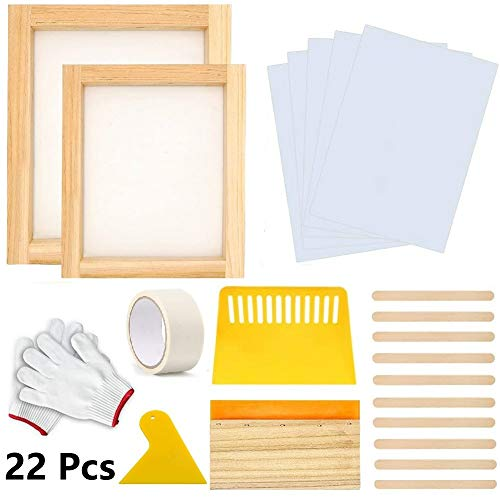22 Pieces Screen Printing Starter Kit, MQ 10 x 14 Inch Wood Silk Screen Printing Frame White Mesh Screen Printing Squeegees Inkjet Transparency Film and Mask Tape