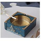 Juego de cenicero para interiores y exteriores, para decoración del hogar, bandeja para cenizas de cigarrillos (color: + caja de pañuelos A) YXF99 (color : cenicero azul)