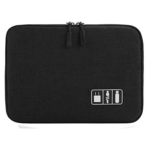 CoWalkers Organizador de electrónica de doble capa / bolsa de artilugios de viaje para cables, tarjetas de memoria, disco duro flash y más, apto para iPad o tableta (hasta 9.7 ') - Grande (Negro)