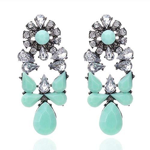 ZLININ Y-longhair - Pendientes largos para niña, diseño de gota de cristal, estilo vintage, geométrico, dorado, exagerado, para fiestas, regalos