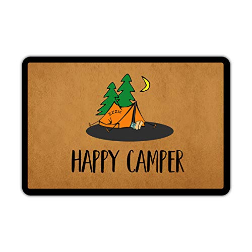 Muikoo Front Door Mat Welcome Mat Happy Camper Rubber Non Slip...