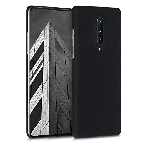 kalibri Schutzhülle kompatibel mit OnePlus 8 (2020) - Hülle Aramid - Handy Cover Hülle Handyhülle Schwarz matt