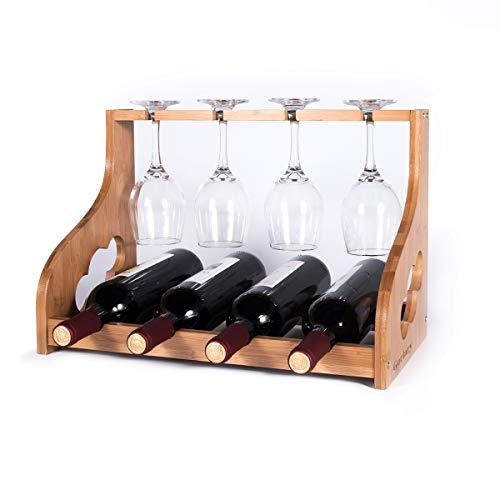 Gorlary Weinregal mit Glashalter, für 4 Weinflaschen und 4 Gläser, Bambus