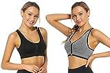 NC Sujetador Deportivo sin Aro Mujer Sostén Cremallera de Apertura Frontal Bralette con Relleno Corto Top para Yoga
