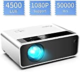 Mini proyector, ELEPHAS Video Proyector 4500 Lux Proyector de Cine en casa portatil LED de Larga duración 1080P Compatible, Compatible con PS4, PC a través de HDMI, VGA, TF, AV y USB Black (White)