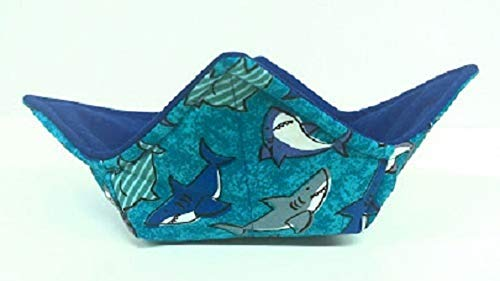 Shark quilted cotton reversible microwavable soup bowl holder or cozy