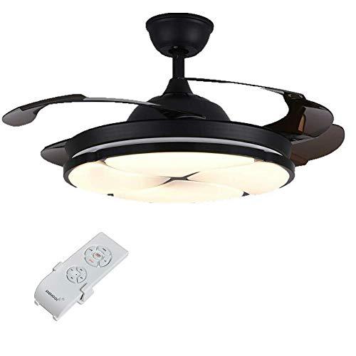 Iyom IyomVentilador de Techo LED Moderno de 42', luz de Estilo Minimalista, Ventilador de Techo, lámpara de 3 Colores, Ajustable, 4 aspas retráctiles con Controlador (Dorado)