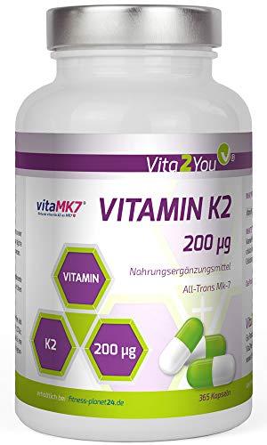 Vitamin K2-200µg - 365 Kapseln - Original vitaMK7® - > 99% All-Trans - Jahrespackung - Natürliches Menaquinon MK-7 - Premium Qualität - Made in Germany
