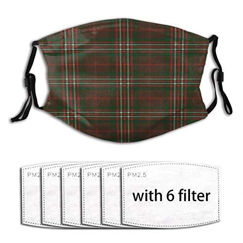 Protección Facial Scott Hunting Modern Original Scottish Tartan Impresión De Invierno Cómoda Bufanda Facial Colorida Bufanda Deportiva Unisex con 6 Filtros Protección Bucal Transp