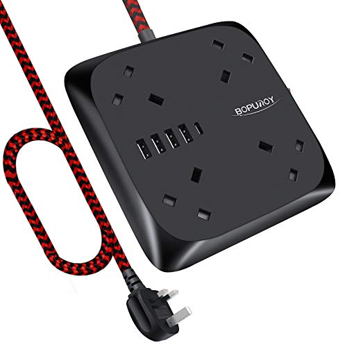 Extension Lead with USB Slots Power Strip with 4 Way Outlets with 5 USB Ports, Surge Protection Plug Extension Socket with 1.8M Braided Extension Cord, Overload Protection for Home, Office