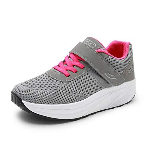 Zapatillas De Deporte De Malla Transpirable para Mujer Zapatillas De Deporte Casuales De Confort De Madre Zapatos De Plataforma con Cuña Mocasines De Oscilación De Boca Baja