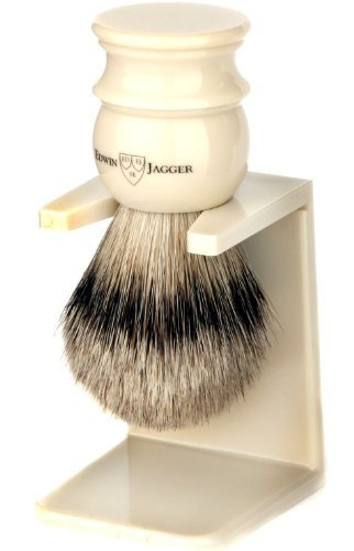 Edwin Jagger Large Silver Tip Badger Hair Shaving Brush With Drip Stand - Imitation Ivory