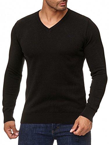 BARBONS Herren Pullover mit V-Ausschnitt - Slim-Fit - Hochwertige Baumwollmischung - Feinstrick-Pullover - Schwarz 2XL